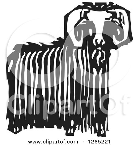 Clipart of a Black and White Woodcut Ibex Ram with Long Wool - Royalty Free Vector Illustration by xunantunich