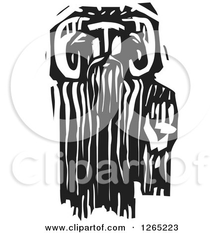 Clipart of a Black and White Woodcut Greek God Pan Faun - Royalty Free Vector Illustration by xunantunich