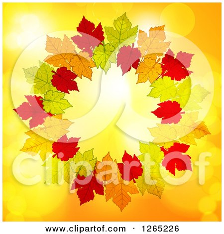 Clipart of a Round Frame of Autumn Leaves over Yellow with Flares - Royalty Free Vector Illustration by elaineitalia