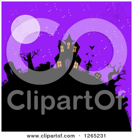 Clipart of a Spider Web over a Hill with a Halloween Haunted House, Cat Jackolantern and Cemetery Against a Full Moon and Purple Sky - Royalty Free Vector Illustration by elaineitalia