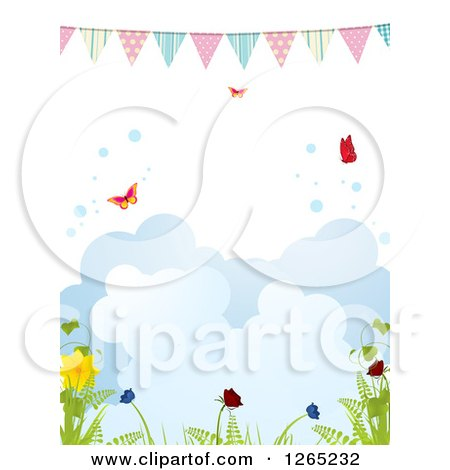 Clipart of a Spring Bunting Banner over Butterflies Bubbles Clouds and Plants - Royalty Free Vector Illustration by elaineitalia