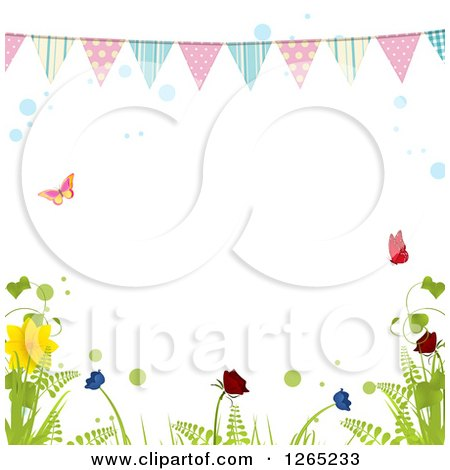 Clipart of a Spring Bunting Banner over Butterflies Bubbles and Plants - Royalty Free Vector Illustration by elaineitalia