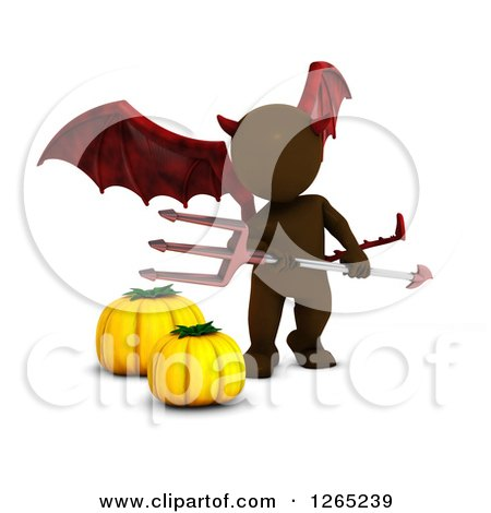 Clipart of a 3d Brown Man in a Demon Halloween Costume - Royalty Free Illustration by KJ Pargeter