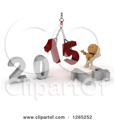 Clipart of a 3d Box Boy Assembling New Year 2015 Numbers Together with a Hoist - Royalty Free Illustration by KJ Pargeter