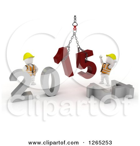 Clipart of 3d New Year White Construction Characters Replacing 2014 with 2015 - Royalty Free Illustration by KJ Pargeter