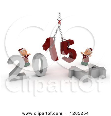 Clipart of 3d Christmas Elves Assembling New Year 2015 with a Hoist - Royalty Free Illustration by KJ Pargeter