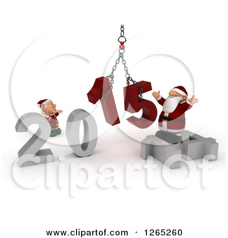 Clipart of a 3d Elf and Santa Assembling New Year 2015 Numbers Together with a Hoist - Royalty Free Illustration by KJ Pargeter