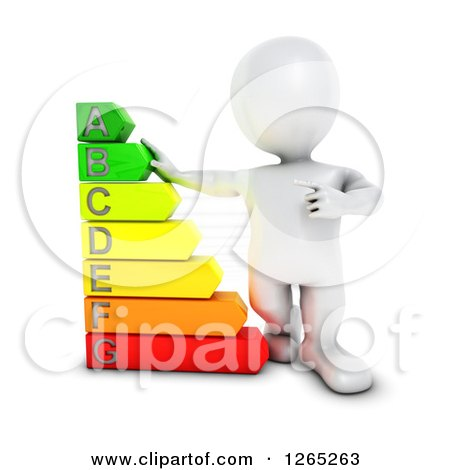 Clipart of a 3d White Man with a Giant Energy Rating Chart - Royalty Free Illustration by KJ Pargeter