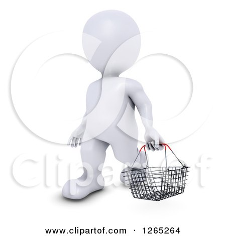Clipart of a 3d White Man Carrying a Shopping Basket - Royalty Free Illustration by KJ Pargeter