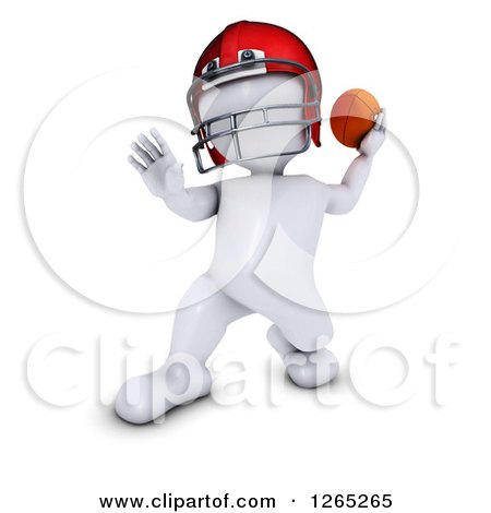 Clipart of a 3d White Man Throwing a Football - Royalty Free Illustration by KJ Pargeter