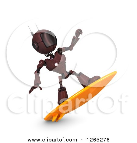 Clipart of a 3d Red Android Robot Surfing - Royalty Free Illustration by KJ Pargeter