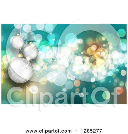 Clipart of a Turquoise Christmas Background with Bokeh Flares and 3d Silver Baubles - Royalty Free Illustration by KJ Pargeter