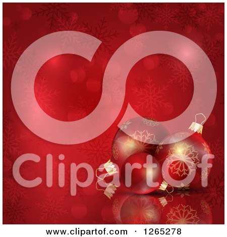 Clipart of a Red Christmas Background of 3d Baubles over Snowflakes and Bokeh Flares - Royalty Free Vector Illustration by KJ Pargeter