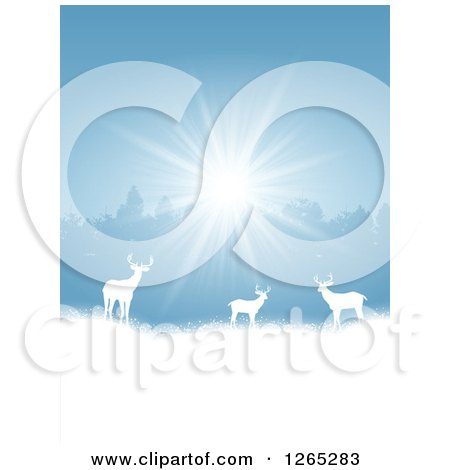 Clipart of White Silhouetted Alert Deer in the Snow Against Trees and Sunshine - Royalty Free Vector Illustration by KJ Pargeter
