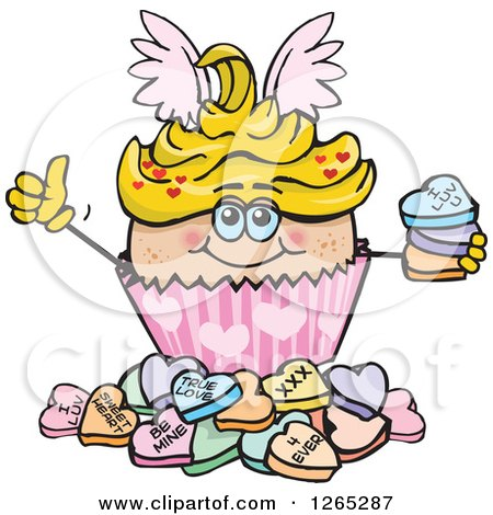 Clipart of a Cupid Valentines Day Holiday Cupcake with Sweet Hearts - Royalty Free Vector Illustration by Dennis Holmes Designs