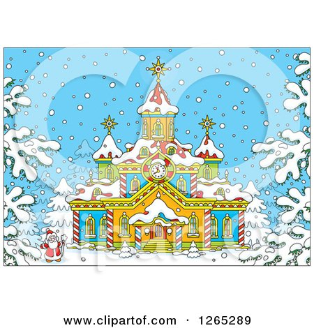 Clipart of Santa Outside a Christmas Church in the Snow - Royalty Free Vector Illustration by Alex Bannykh
