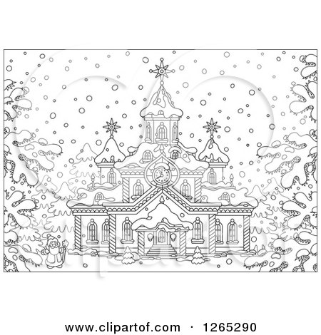 Clipart of a Black and White Santa Outside a Christmas Church in the Snow - Royalty Free Vector Illustration by Alex Bannykh