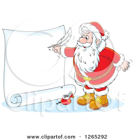 Clipart of Santa Writing on a Giant Christmas Scroll - Royalty Free Vector Illustration by Alex Bannykh