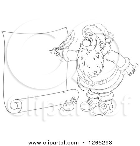 Clipart of a Black and White Santa Writing on a Giant Scroll - Royalty Free Vector Illustration by Alex Bannykh