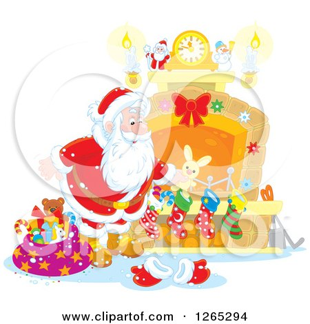Clipart of Santa Claus Stuffing Christmas Stockings at a Fireplace - Royalty Free Vector Illustration by Alex Bannykh