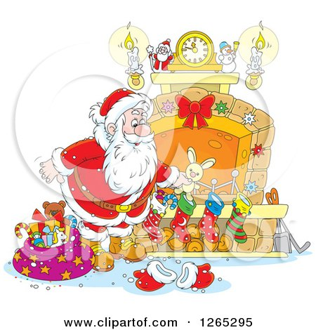 Clipart of Santa Stuffing Christmas Stockings at a Fireplace - Royalty Free Vector Illustration by Alex Bannykh