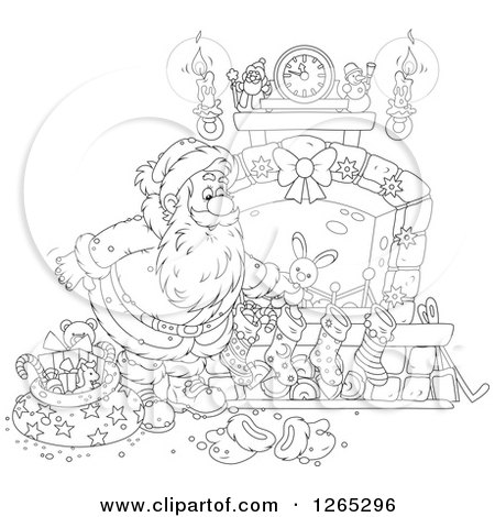 Clipart of a Black and White Santa Stuffing Stockings at a Fireplace - Royalty Free Vector Illustration by Alex Bannykh