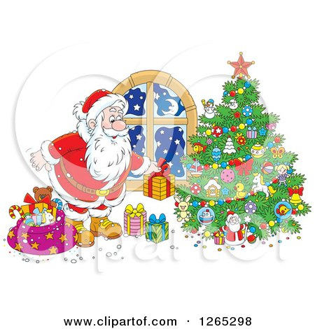 Clipart of Santa Putting Christmas Gifts Around a Tree - Royalty Free Vector Illustration by Alex Bannykh