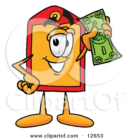Clipart Picture of a Price Tag Mascot Cartoon Character Holding a Dollar Bill by Toons4Biz