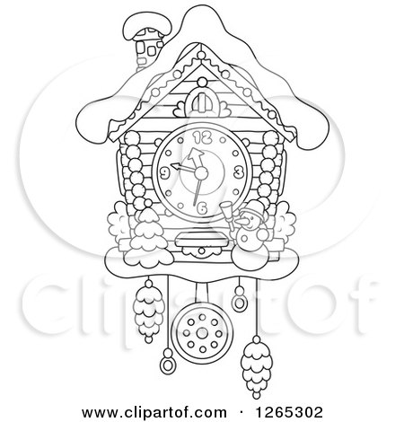 Clipart Of A Black And White Christmas Cuckoo Clock With
