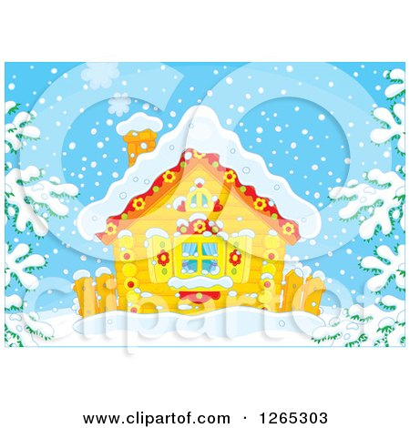 Clipart of a Log Cabin in the Snow - Royalty Free Vector Illustration by Alex Bannykh