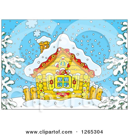 Clipart of a Log Cabin on a Snowy Winter Day - Royalty Free Vector Illustration by Alex Bannykh
