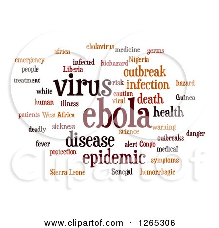 Clipart of a Brown Ebola Virus Word Collage on White - Royalty Free Illustration by oboy