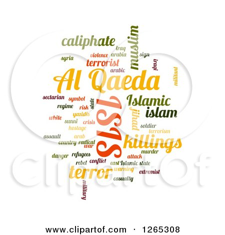 Clipart of a ISIS and Al Qaeda Word Collage on White - Royalty Free Illustration by oboy
