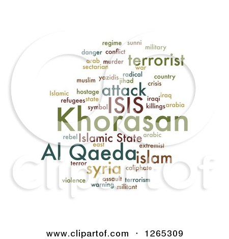 Clipart of a Green ISIS and Al Qaeda Word Collage on White - Royalty Free Illustration by oboy