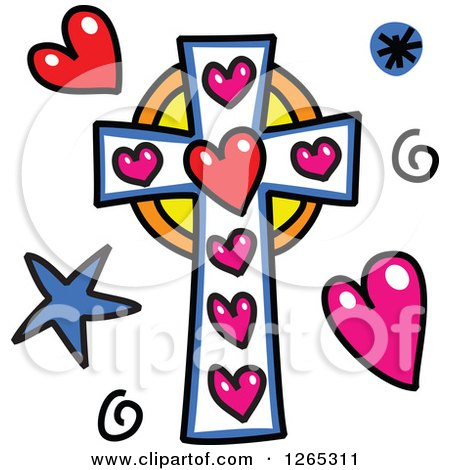 Clipart of a Doodled Christian Cross with Hearts Spirals and Stars - Royalty Free Vector Illustration by Prawny