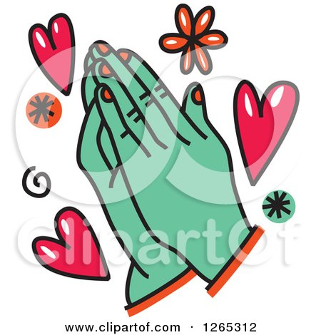 Clipart of Doodled Praying Hands with Hearts and Flowers - Royalty Free Vector Illustration by Prawny