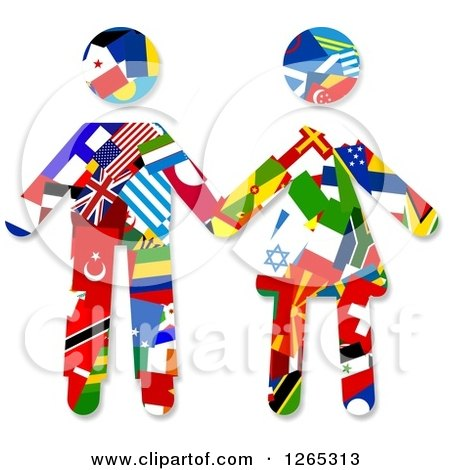Clipart of a Flag Patterened Couple Holding Hands - Royalty Free Illustration by Prawny