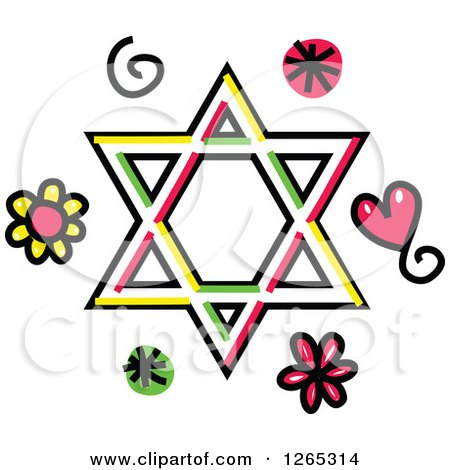 Clipart of a Doodled Star of David with Hearts Swirls and Flowers - Royalty Free Vector Illustration by Prawny