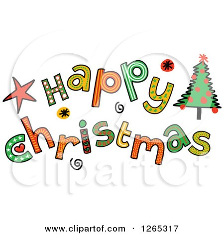 Clipart of Colorful Sketched Happy Christmas Text - Royalty Free Vector Illustration by Prawny