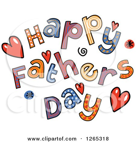 Clipart of Colorful Sketched Happy Fathers Day Text - Royalty Free Vector Illustration by Prawny