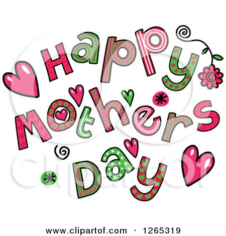 Clipart of Colorful Sketched Happy Mothers Day Text - Royalty Free Vector Illustration by Prawny