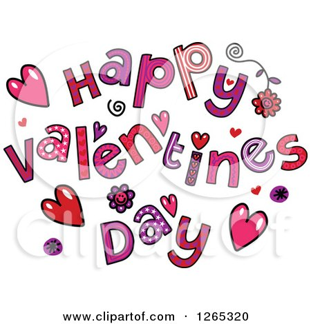 Clipart of Colorful Sketched Happy Valentines Day Text - Royalty Free Vector Illustration by Prawny