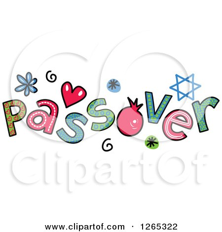 Clipart of Colorful Sketched Passover Text - Royalty Free Vector Illustration by Prawny