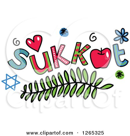Clipart of Colorful Sketched Sukkot Text - Royalty Free Vector Illustration by Prawny
