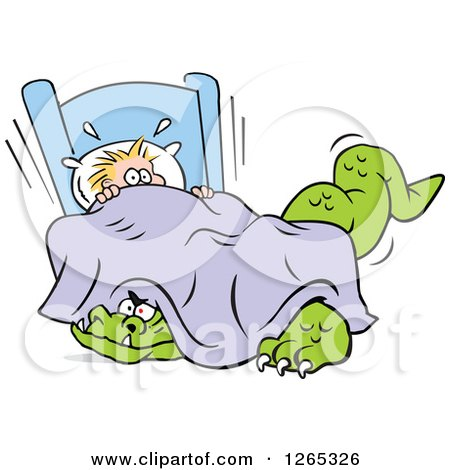 Clipart of a Frightened Blond Caucasian Boy with a Monster Under His Bed - Royalty Free Vector Illustration by Johnny Sajem