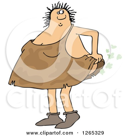Clipart of a Cavewoman Farting - Royalty Free Vector Illustration by djart