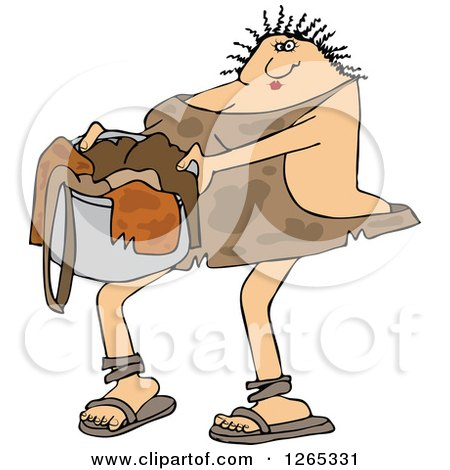 Clipart of a Cavewoman Carrying a Basket of Laundry - Royalty Free Vector Illustration by djart