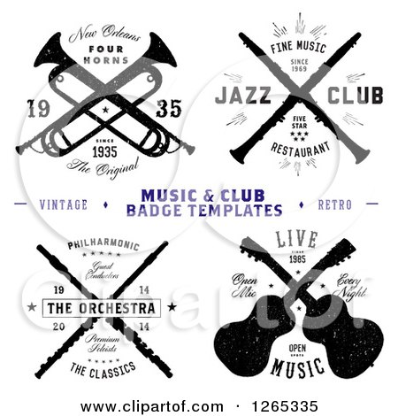 Clipart of Music and Club Badge Labels with Sample Text - Royalty Free Vector Illustration by BestVector