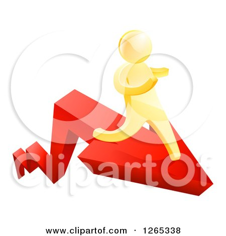 Clipart of a 3d Gold Man Running on a Red Arrow - Royalty Free Vector Illustration by AtStockIllustration
