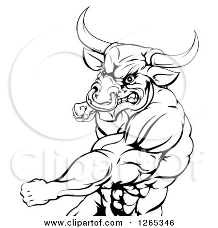 Clipart of a Black and White Muscular Bull or Minotaur Man Mascot Punching - Royalty Free Vector Illustration by AtStockIllustration